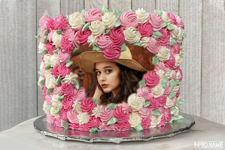 Create Heart Shaped Pink Swirl Birthday Cake With Photo