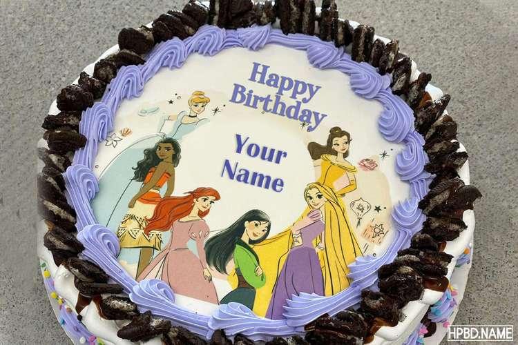 Princess Happy Birthday Wishes Cake With Kids Name