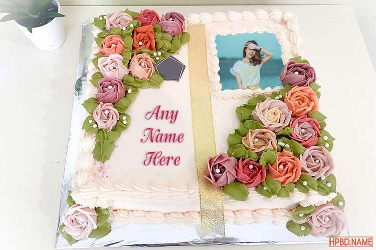 Best Flower Birthday Cake With Name And Photo Edited