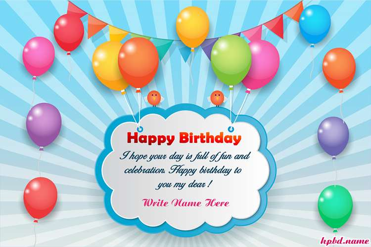 Colorful Balloons Birthday Wishes Card With Name Edit