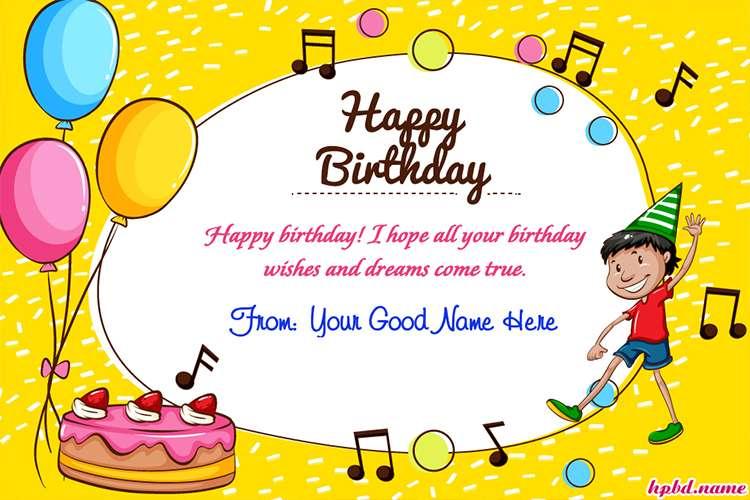 beautiful happy birthday card with name generator