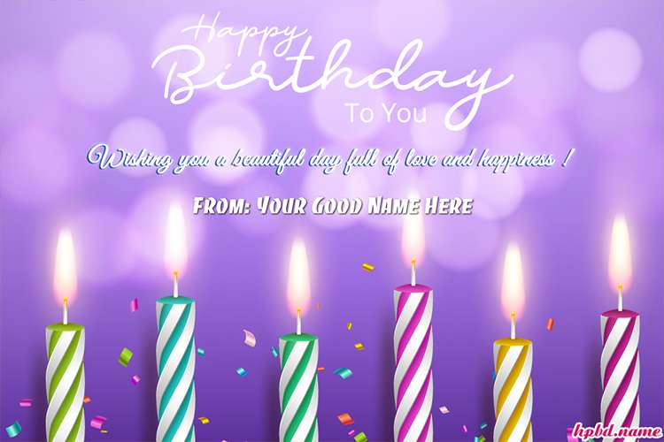 Write Your Name On Glowing Candle Birthday Card