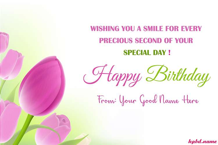 Pastel Tulips Happy Birthday Cards With Name Edit