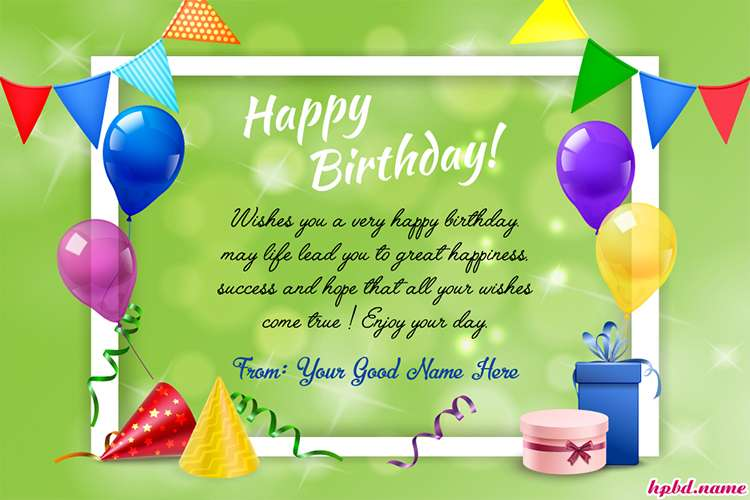 Wish You A Very Happy Birthday Card With Name