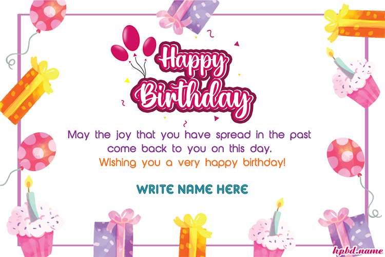 Watercolor Style Birthday Wishes Name Card