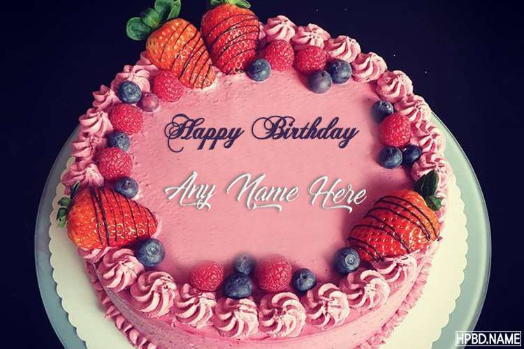 Fruity Strawberry Birthday Cake With Name Edit