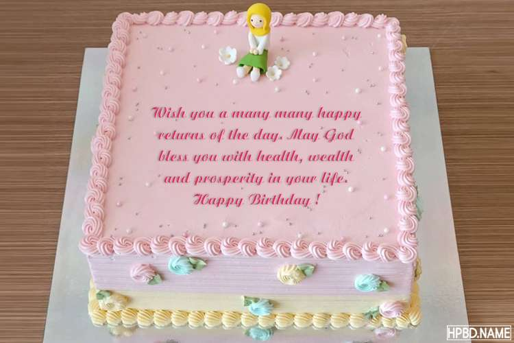 Pink Square Happy Birthday Cake With Name And Wishes