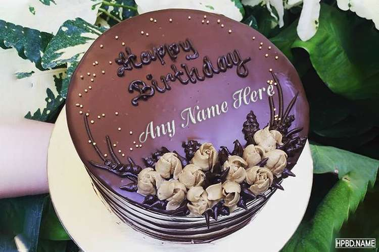 Happy Chocolate Cake for Birthday With Name