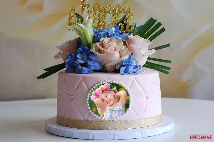 Lovely Pink Flowers Birthday Wishes Cake With Photo