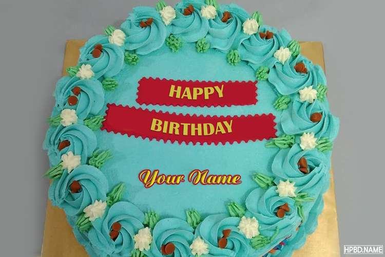 Blue Happy Birthday Cake Image With Name Edit