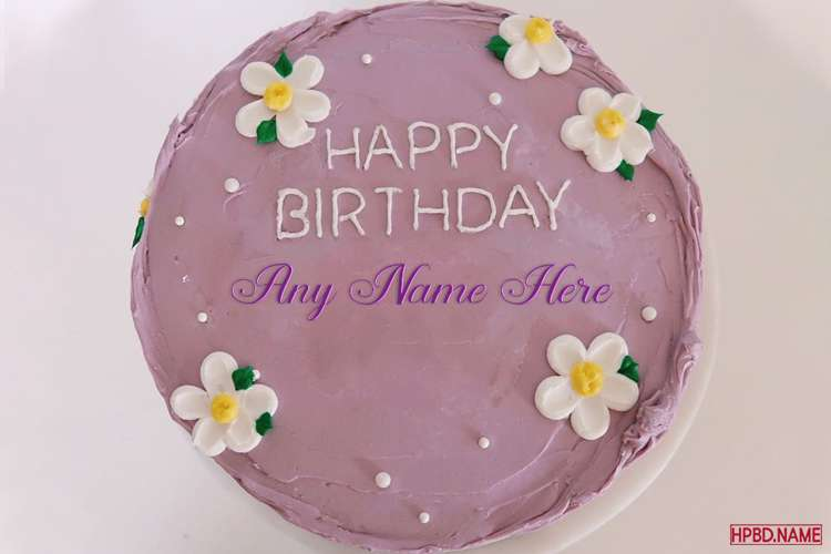 White Floral Birthday Cake On Purple Cake Background With Name Editing