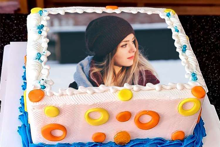 Colorful Square Birthday Cake With Photo Frame