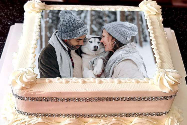 White Square Birthday Cake With Photo Editing