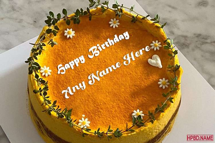 Yellow Floral Border Birthday Cake With Name Edit