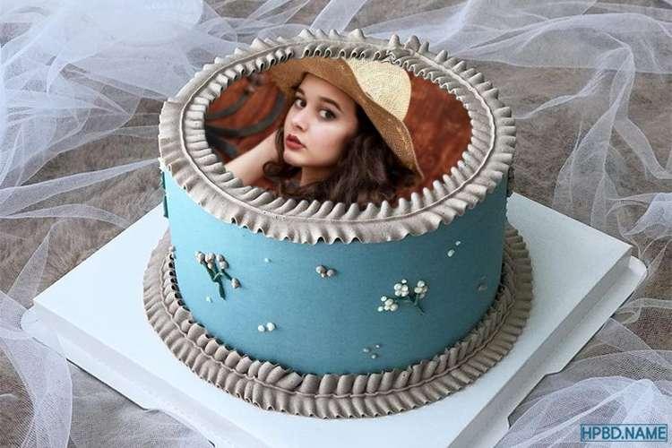 Print Photo On Blue Birthday Cake Online