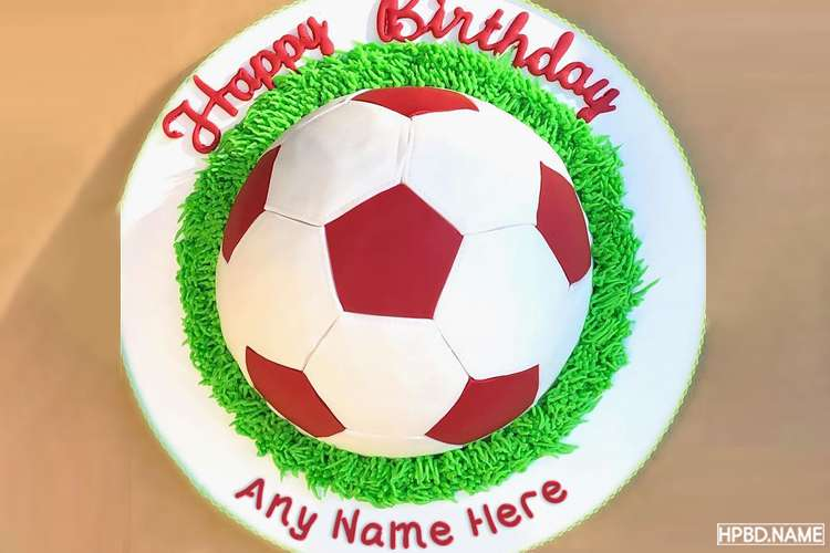 3D Football Birthday Cake With Name Editing