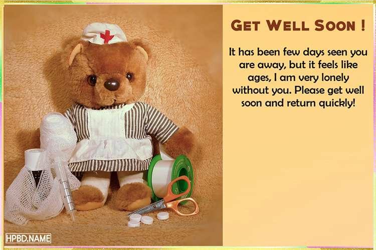Teddy Bear Get Well Soon Cards Maker Online