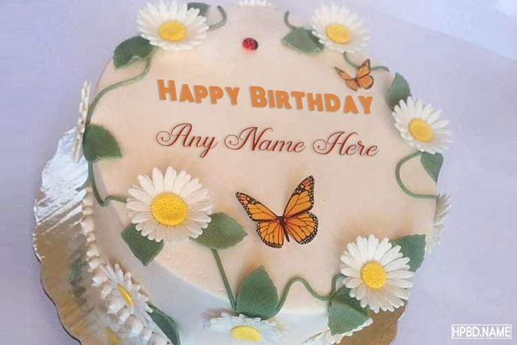 Lovely Butterfly And Flower Birthday Cake With Name Editing