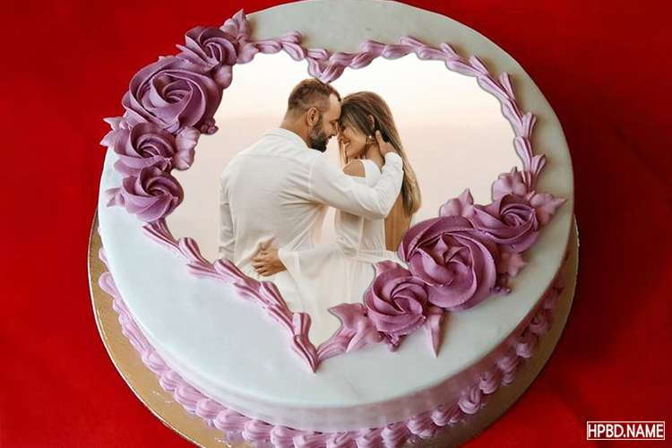 Collage Photo On Anniversary Cake With Romantic Heart Border