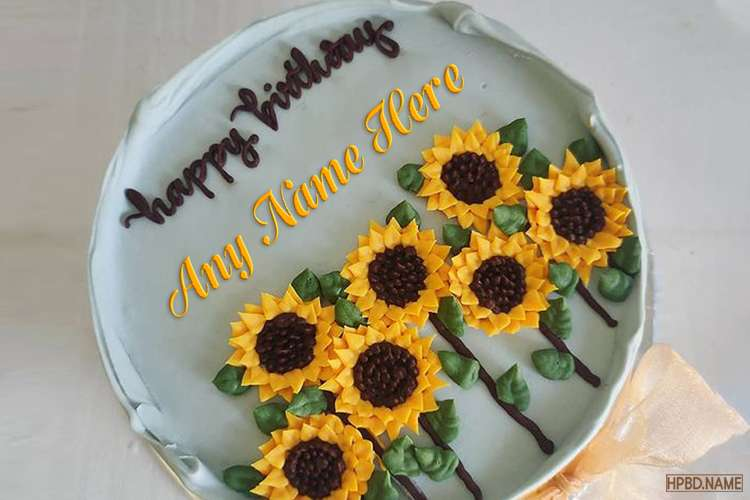 Sunflower Birthday Wishes Cake For Mom With Name Editing