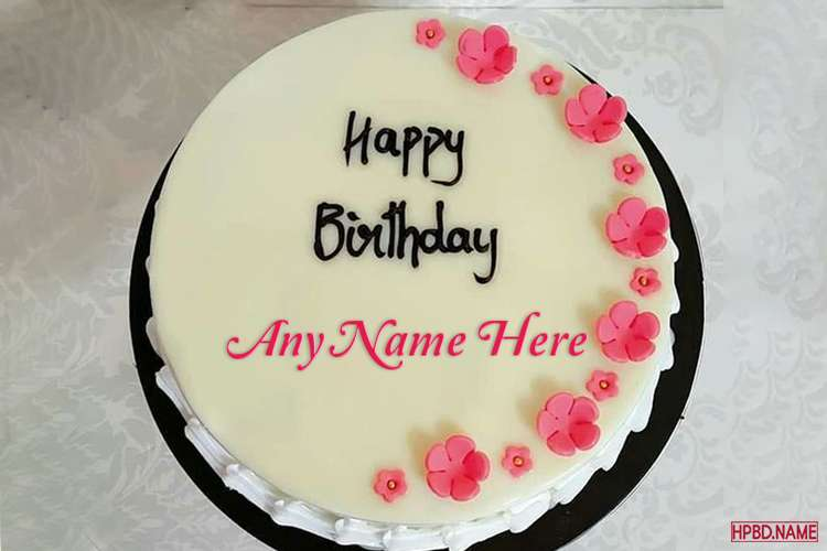 Lovely Pink Floral Border Birthday Cake With Name Editing