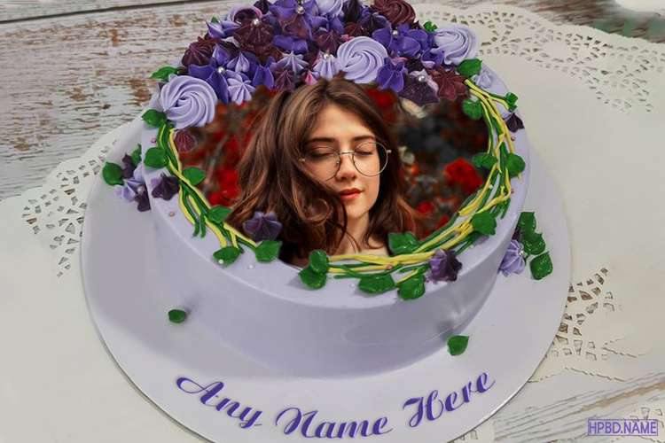 Sweet Purple Birthday Cake With Floral Border With Name And Photo