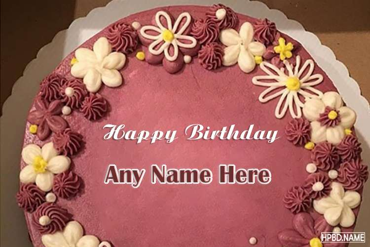 Free Pink Happy Flower Birthday Cake With Your Name