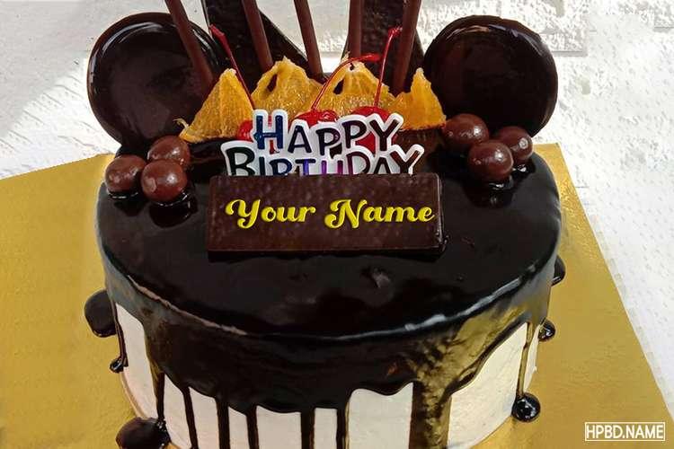 Sweet Happy Chocolate Birthday Cake Image With Name