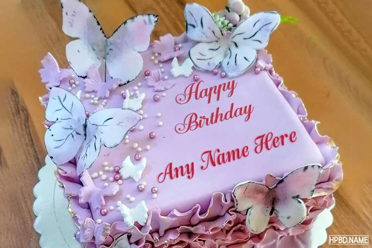 Lovely Pink Butterfly Birthday Cake With Name Editor