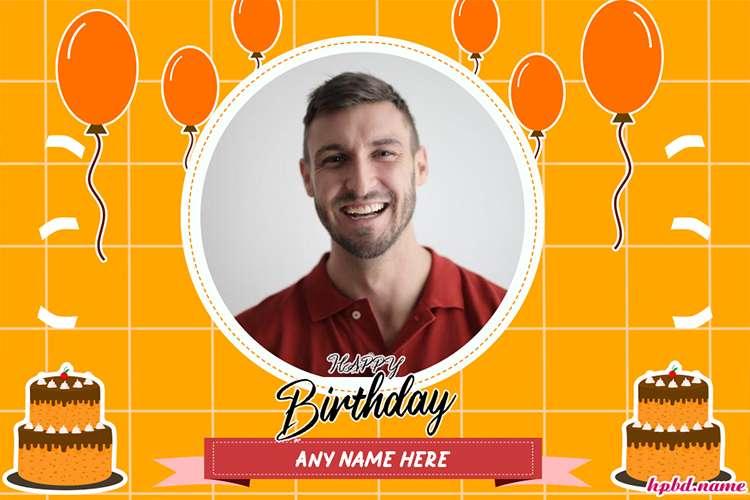 Customize Orange Background Birthday Wishes With Photo And Name