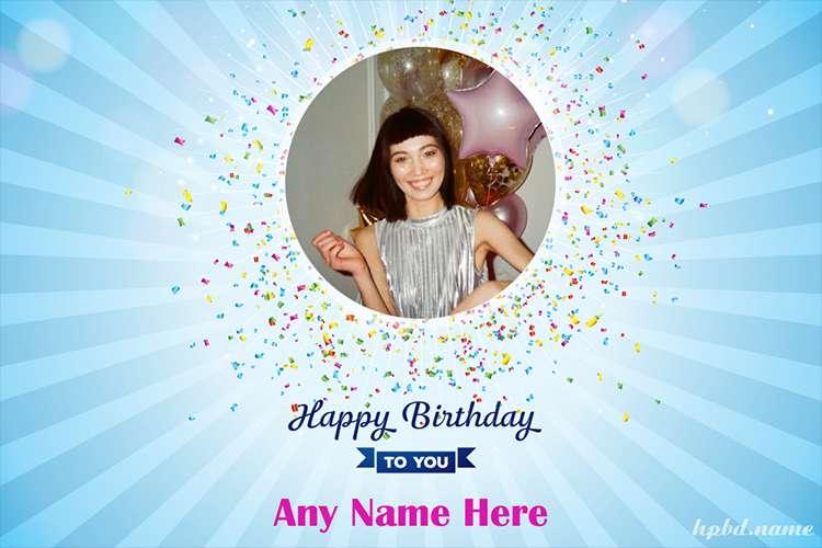 Photo Birthday Wishes With Blue Gliter Background