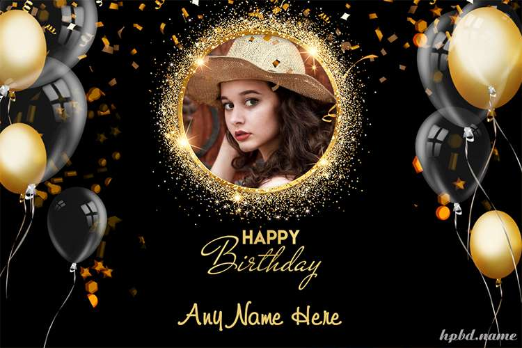Luxury Golden Balloons Birthday Wishes With Photo