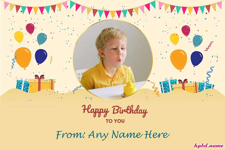 Yellow Background Birthday Cards With Photo And Name