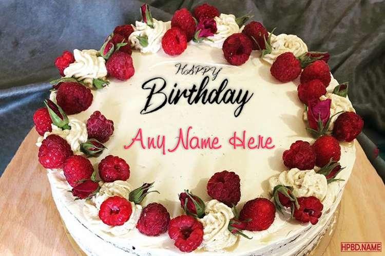 Raspberry Birthday Wishes Cake With Name Edit