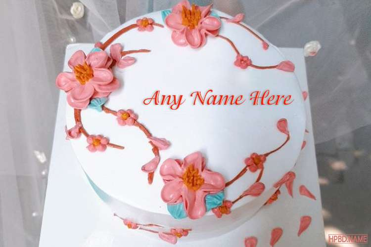 Best Of Pink Flower Anniversary Cake With Name Edit