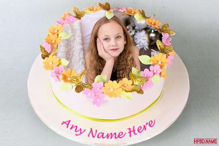 Free Lovely Floral Birthday Cake With Name And Photo