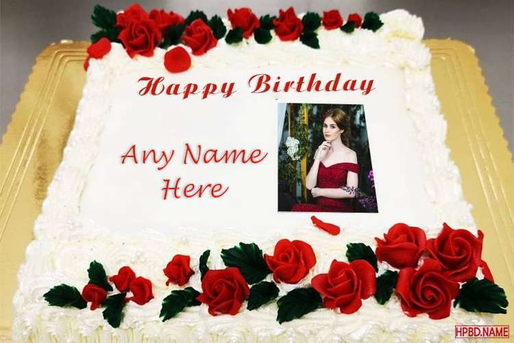 Red Rose Birthday Wishes Cake With Name And Photo