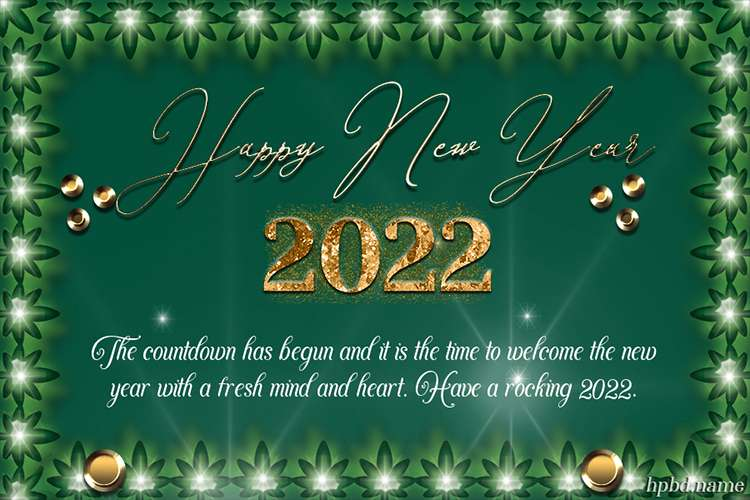 Gold And Green 2022 Happy New Year Greeting Card