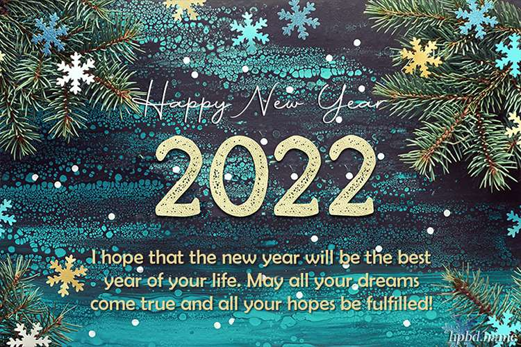 Happy New Year 2022 With Snowflakes