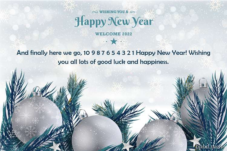 Happy New Year 2022 Card With Silver Ball Background