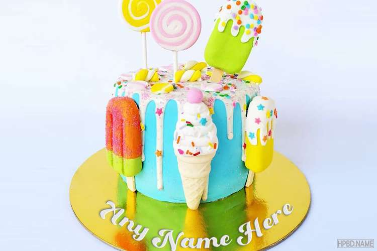 Colorful Summer Ice Cream Birthday Cake With Name