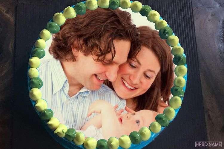 Creative Blue Birthday Cake With Photo Frame