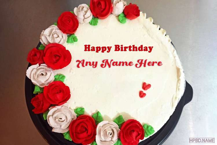 Red Rose Birthday Wishes Cake for Lovers With Name