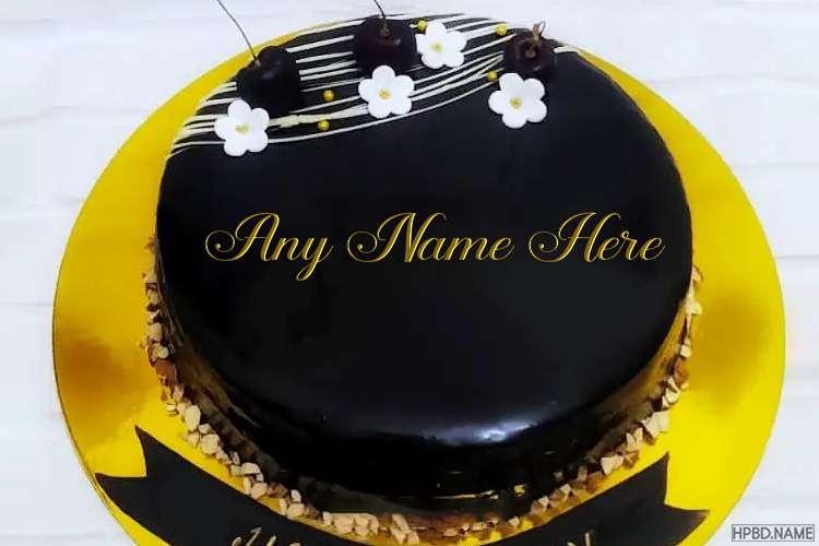 Sweet Dark Chocolate Birthday Cake With Name On It