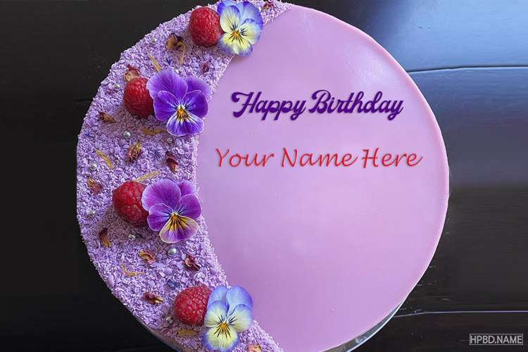 Personalize Purple Birthday Cake With Your Name