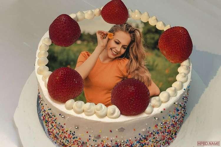 Fresh Strawberry Birthday Wishes Cake With Photo Editing