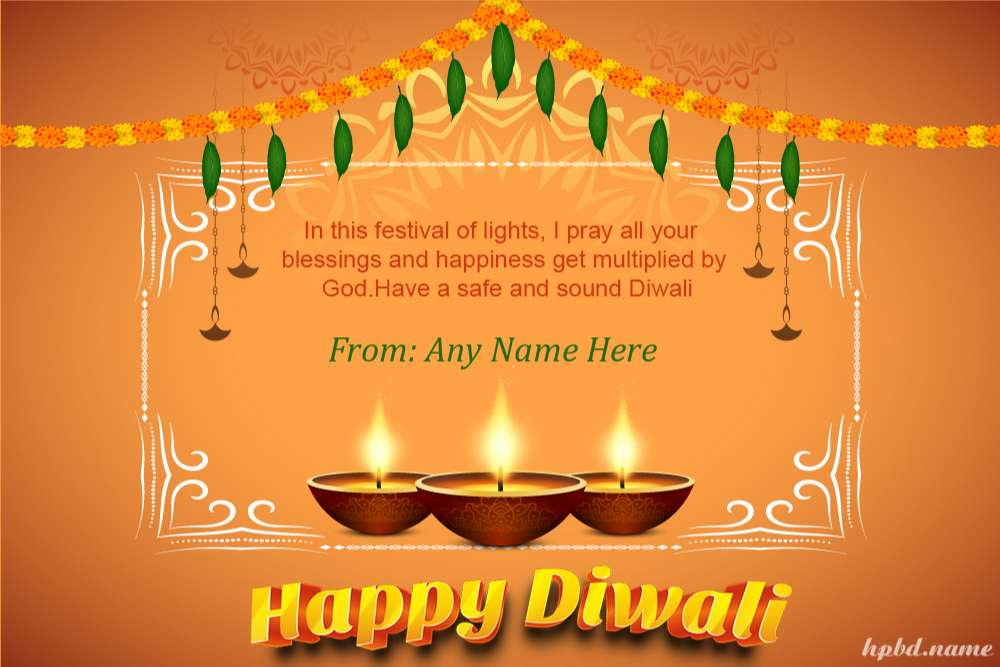 Indian Festival Happy Diwali Wishes Cards With Name