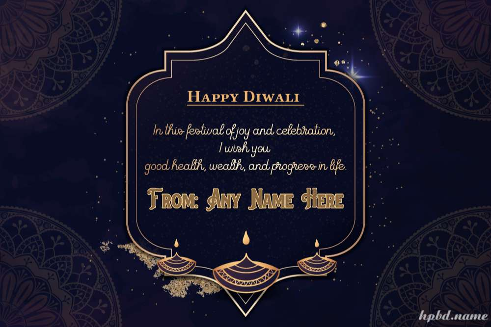 Luxury Diwali Greeting Cards With Diya and Your Name