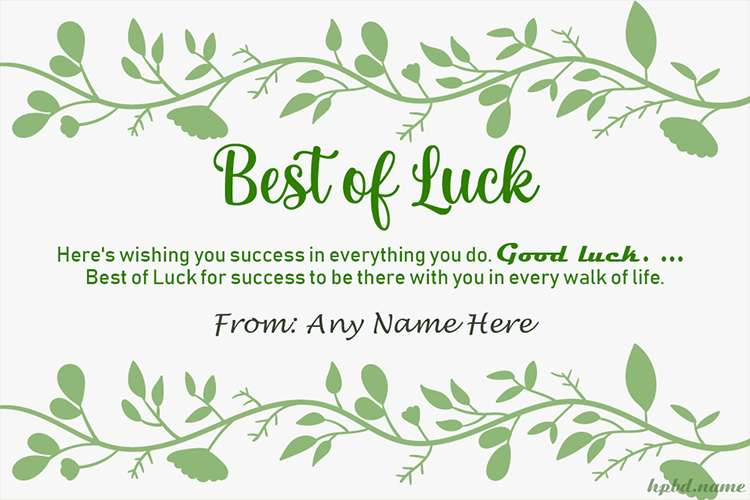 Write Name On Best of Luck Greeting Cards Online