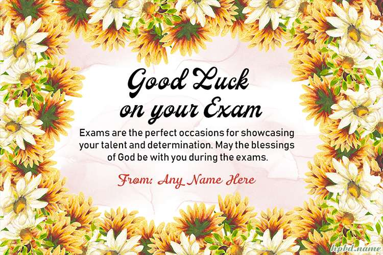 Write Name On Good Luck On Your Exam Cards
